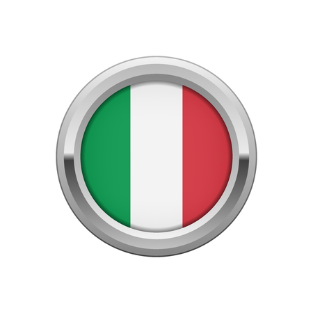 hallmark: Round silver badge with Italian flag