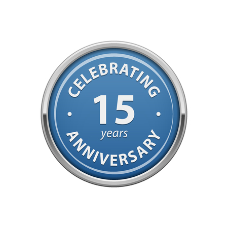 number 15: Celebrating anniversary 15 years badge Illustration