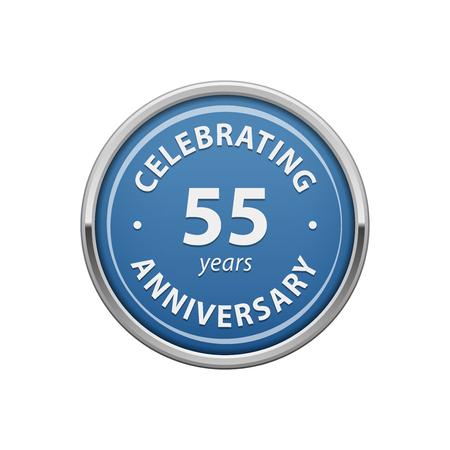 Celebrating anniversary 55 years badge Vetores