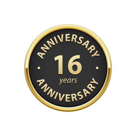 16: Anniversary 16 years badge