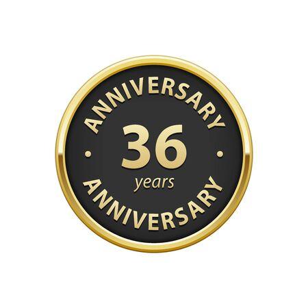 36: Anniversary 36 years badge Illustration