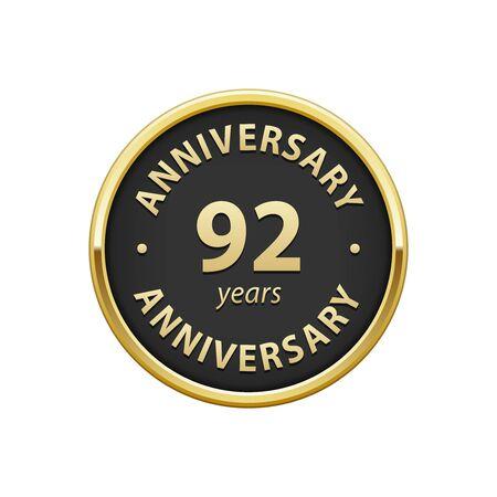 92: Anniversary 92 years badge