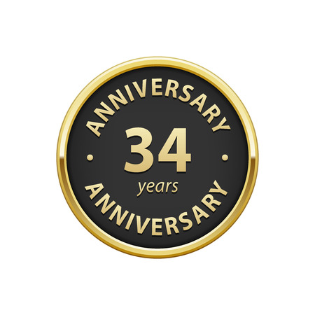 34: Anniversary 34 years badge Illustration