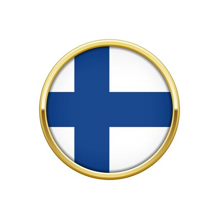 made in finland: Round gold badge with Finnish flag Illustration