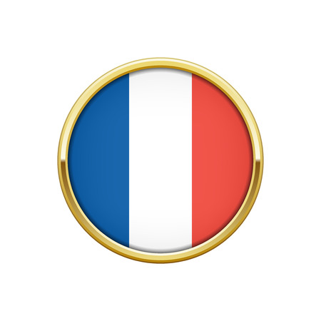 Round gold badge with French flag