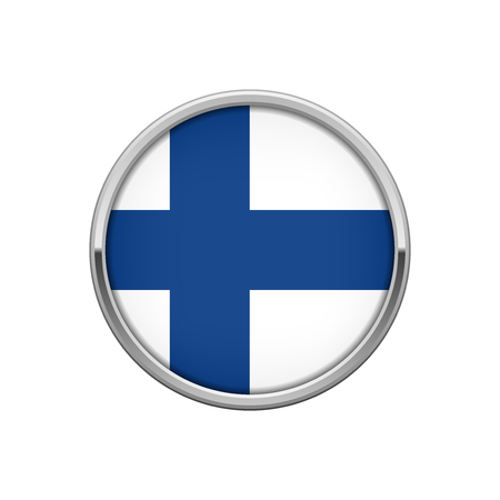 finnish: Round silver badge with Finnish flag