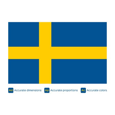carefully: Flag of Sweden,  carefully made using official proportions,  dimensions and colors Illustration