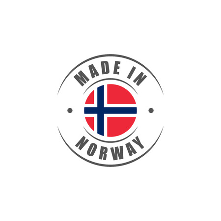 Round Made in Norway label with Norwegian flag