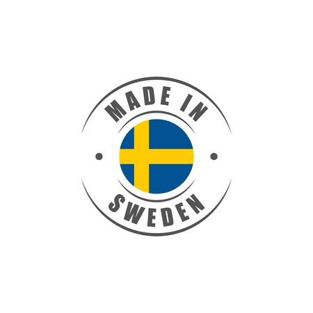 Round Made in Sweden label with Swedish flag