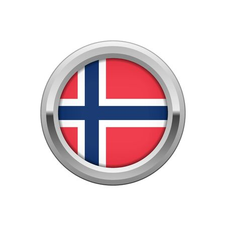 norway flag: Round silver badge with Norwegian flag Illustration