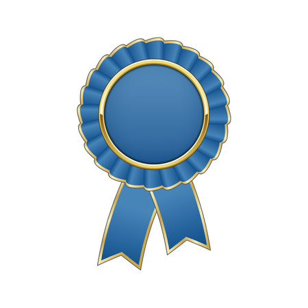 qualify: Blue and gold rosette with ribbon