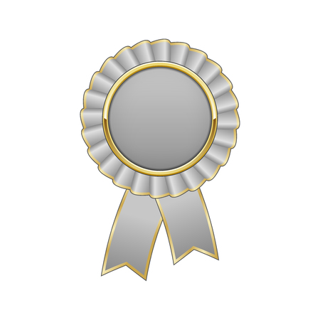 Silver grey and gold award rosette with ribbon