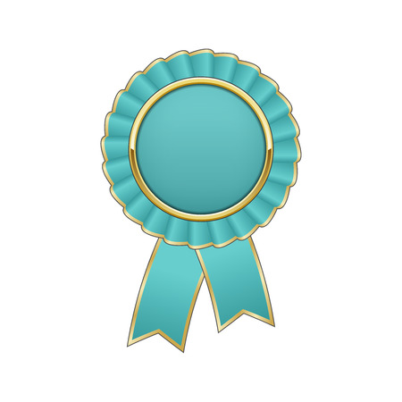 Cyan and gold award rosette with ribbon