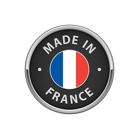 hallmark: Round Made in France badge with French flag Illustration