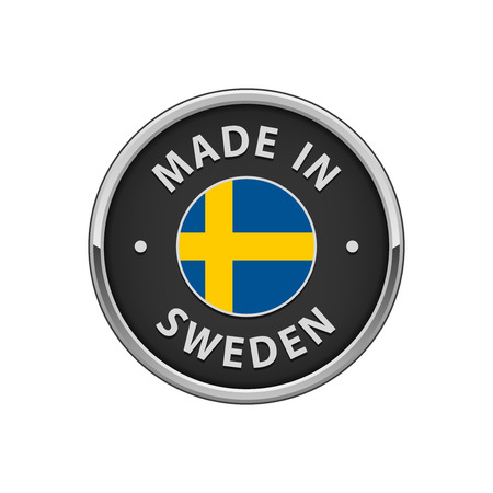 Round Made in Sweden badge with Swedish flag