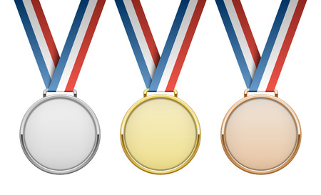 Gold, silver, bronze award medals with ribbons