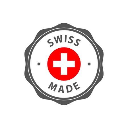 「スイス製」とスイスの国旗のバッジ  イラスト・ベクター素材