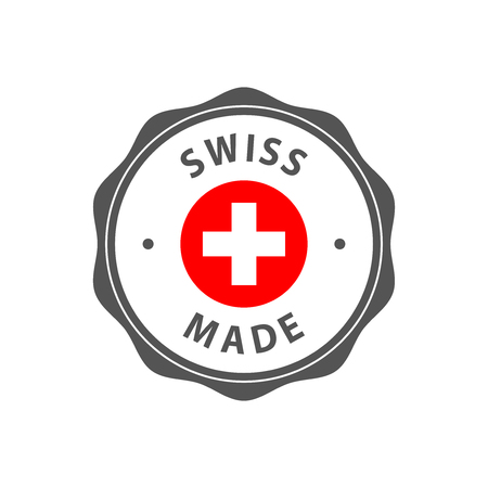 Swiss made badge with Swiss flag