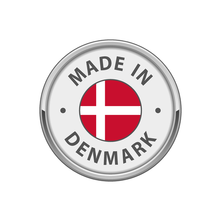 hallmark: Round Made in Denmark badge with Danish flag