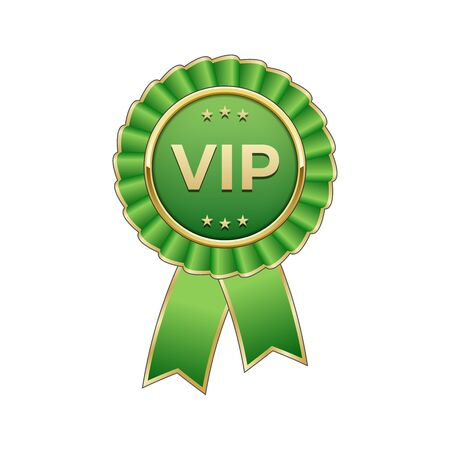 hallmark: Green and gold Vip award rosette with ribbon