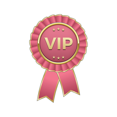 celebrities: Pink and gold Vip award rosette with ribbon