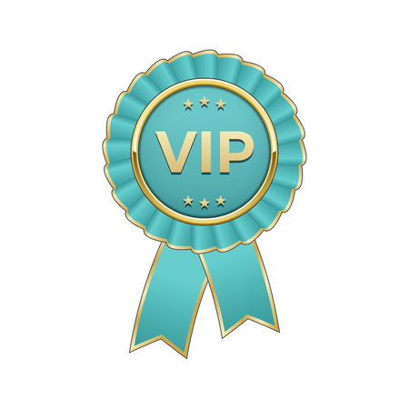 Cyan and gold Vip award rosette with ribbon