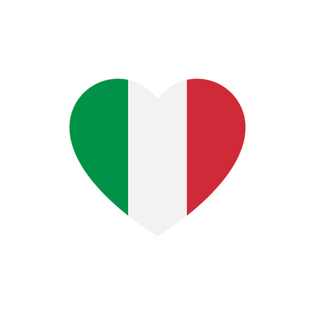 Flag of Italy heart silhouette.