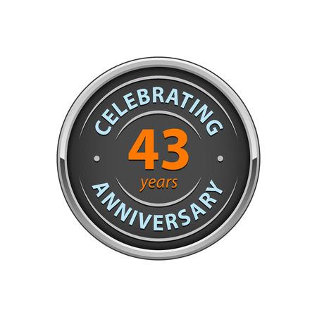 Celebrating anniversary 43 years badge Illustration