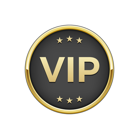 Gold black Vip badge. Vector illustration. Illustration