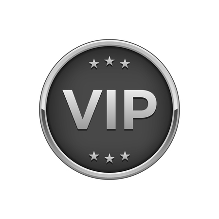 Silver black Vip badge. Vector illustration.
