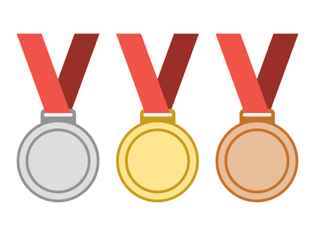 Set of gold, silver, bronze award medals with ribbons.