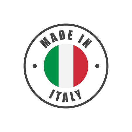 Made in Italy badge with Italian flag