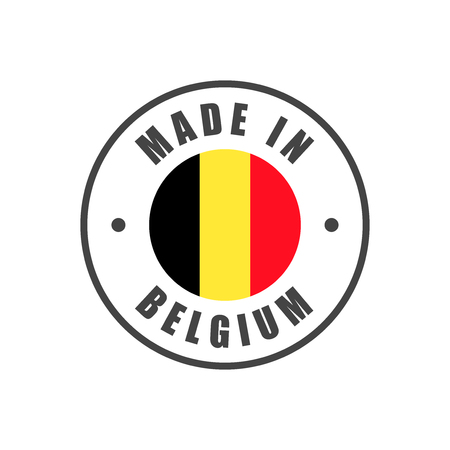 """""""Made in Belgium"""" Abzeichen mit belgischer Flagge Vektorgrafik"""