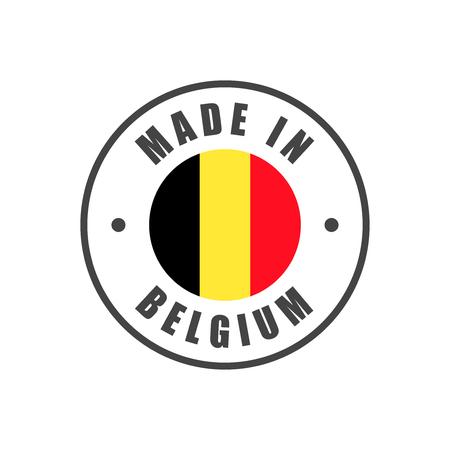 """""""Made in Belgium"""" badge met Belgische vlag Vector Illustratie"""
