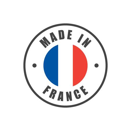 """Made in France"" badge met Franse vlag Stock Illustratie"