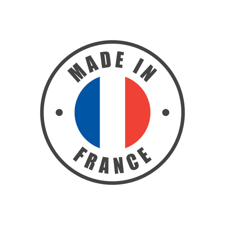 """Marchio """"Made in France"""" con bandiera francese"""