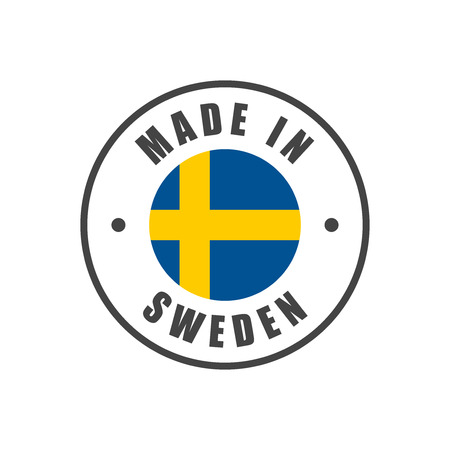 スウェーデンの国旗のバッジ「スウェーデン製」 写真素材 - 88171757