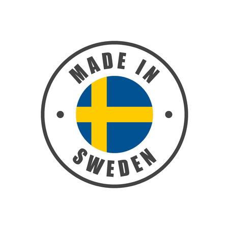 """""""Made in Sweden"""" badge met Zweedse vlag Stock Illustratie"""