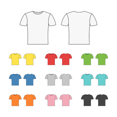 Set of blank colorful t-shirts templates, icons