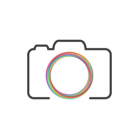Photo camera logo with colorful circle Çizim