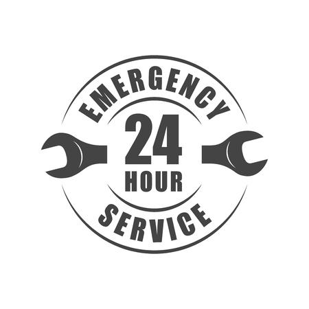 24-godzinne logo pogotowia ratunkowego z sylwetką klucza