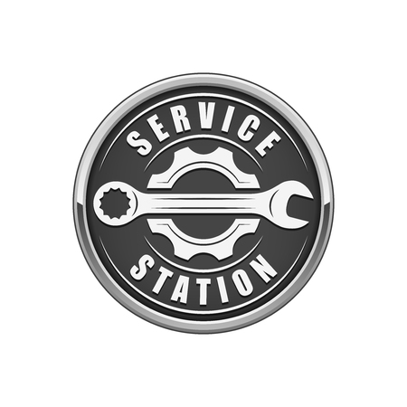 Service station logo, wrench and gear silhouette