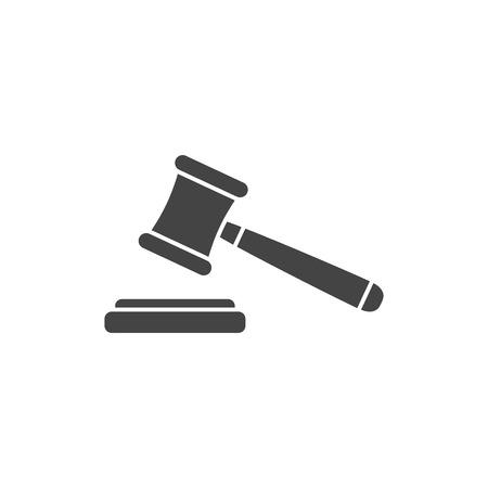 Judge gavel flat vector icon, silhouette. Court symbol.  イラスト・ベクター素材