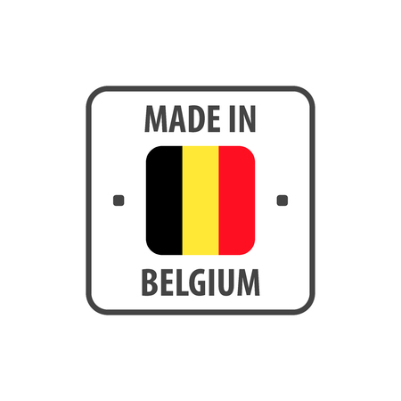 """Made in Belgium"" label with Belgian flag"