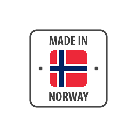 """Made in Norway"" label with Norwegian flag"