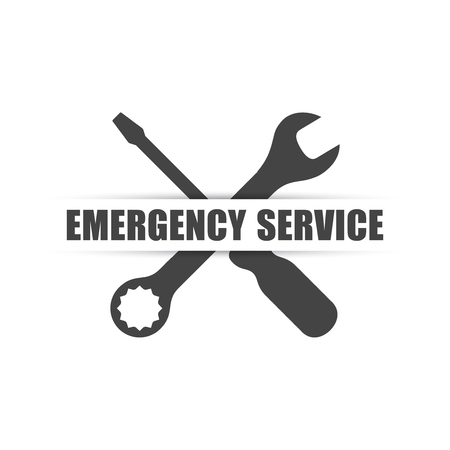 Emergency service logo with wrench & screwdriver silhouettes Vectores