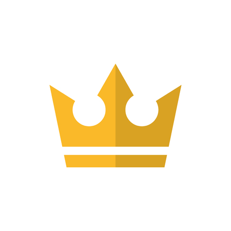 Gold crown flat vector icon