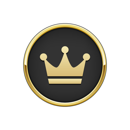 Gold black round badge with crown icon Illustration