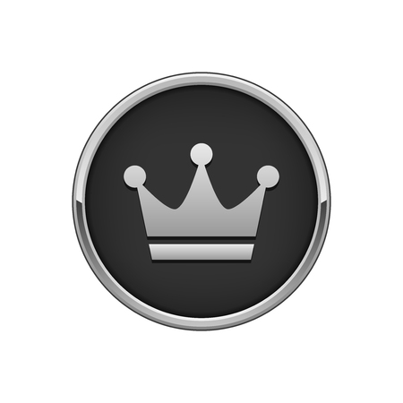 Silver black round badge with crown icon
