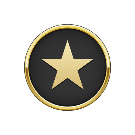 Gold black round badge with star icon